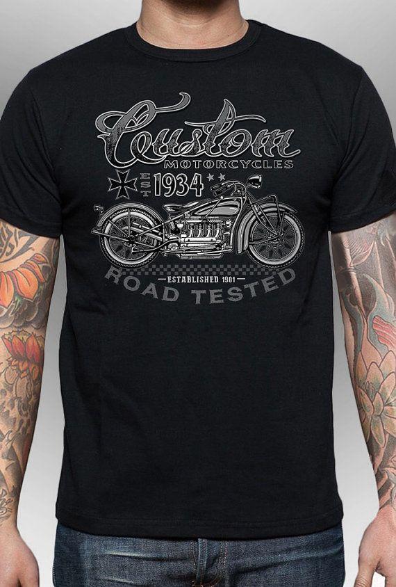Camiseta de moto Indian, Vintage estilo 3D, / impreso camiseta no una transferencia de