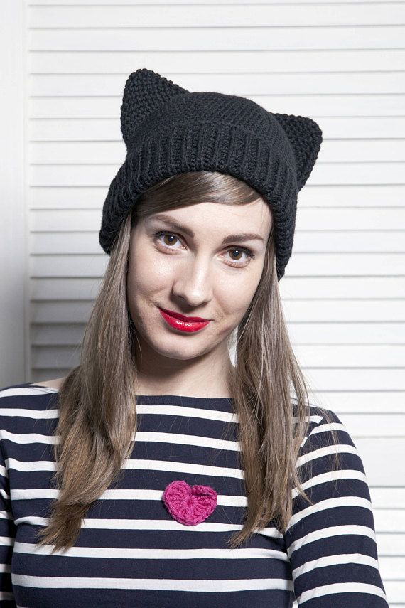 Black Pussy Cat Hat with Ears Crochet Animal Hat Knit