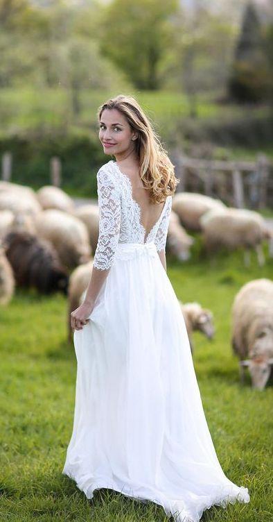 5d5a13fa1c01 3/4 sleeve long chiffon rustic wedding dresses.#weddingdresses #weddingdress  #weddings #weddinginspiration #beachwedding #vintagewedding ...