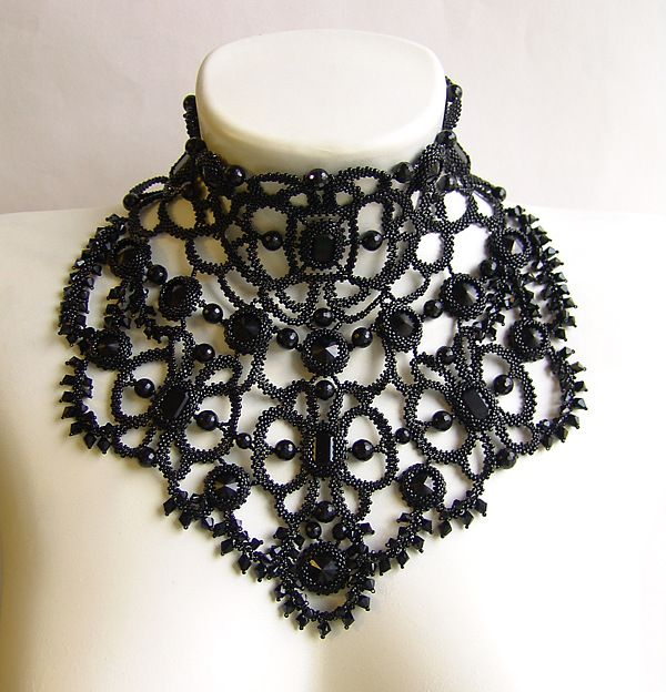 Beaded lace choker mourning Necklace