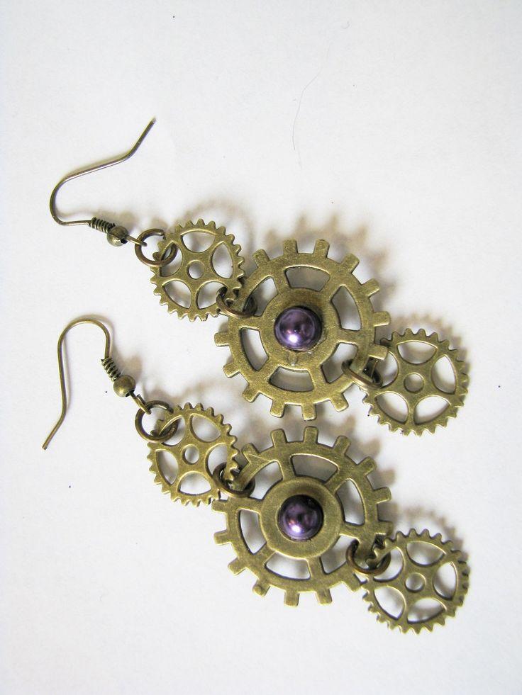 Kit boucle d'oreilles engrenages steampunk : Kits, tutoriels bijoux par les-creations-de-mimisse