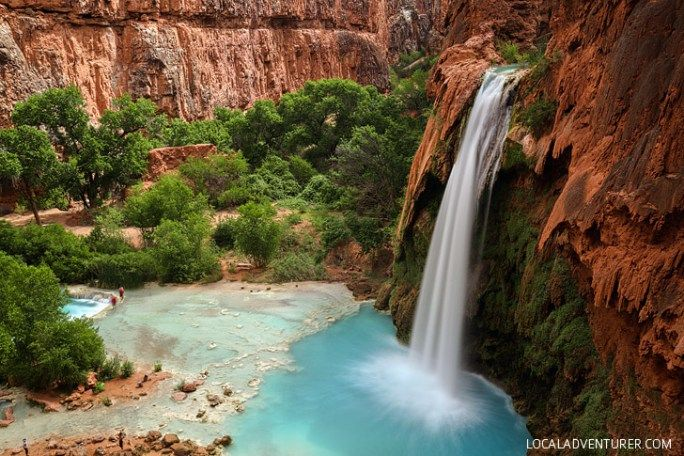 Havasu Falls - It is the most famous waterfall located in the Havasupai Indian Reservation. It's 1.5 miles from Supai Village and is 90 -100 ft tall // localadventurer.com