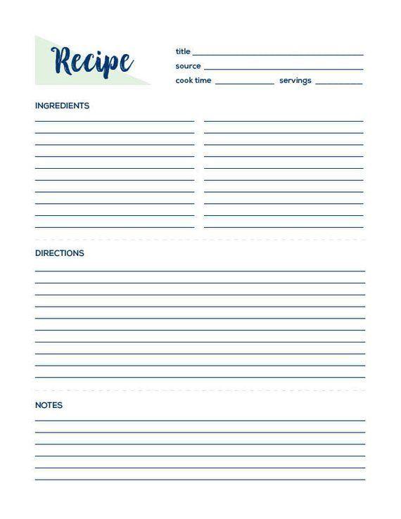 Recipe Page Recipe Printable Recipe Card Recipe Template Recipe Sheet Blank Recipe Book Printable Recipe Instant Download Cookbook Homemade Recipe Books Printable Recipe Cards Recipe Template