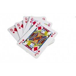 Een onopvallend spelletje kaartspelen is er niet meer bij met deze grote kaarten! Leuk om als cadeau te geven voor uren lang speel plezier.
