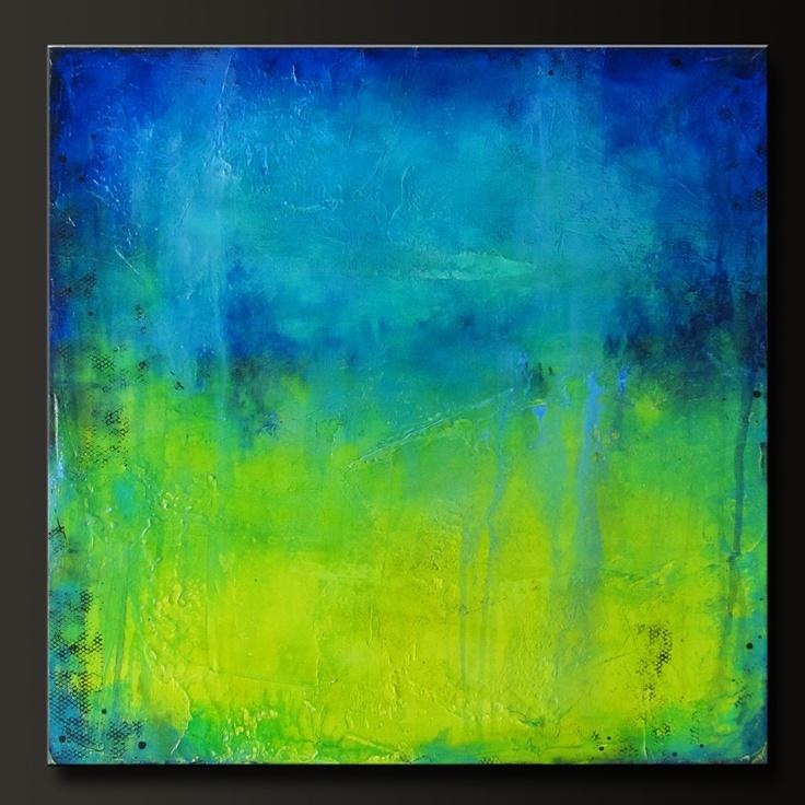 'Midori Falls' - 24 x 24 - Abstract Acrylic Painting - Highly Textured - Contemporary Wall Art