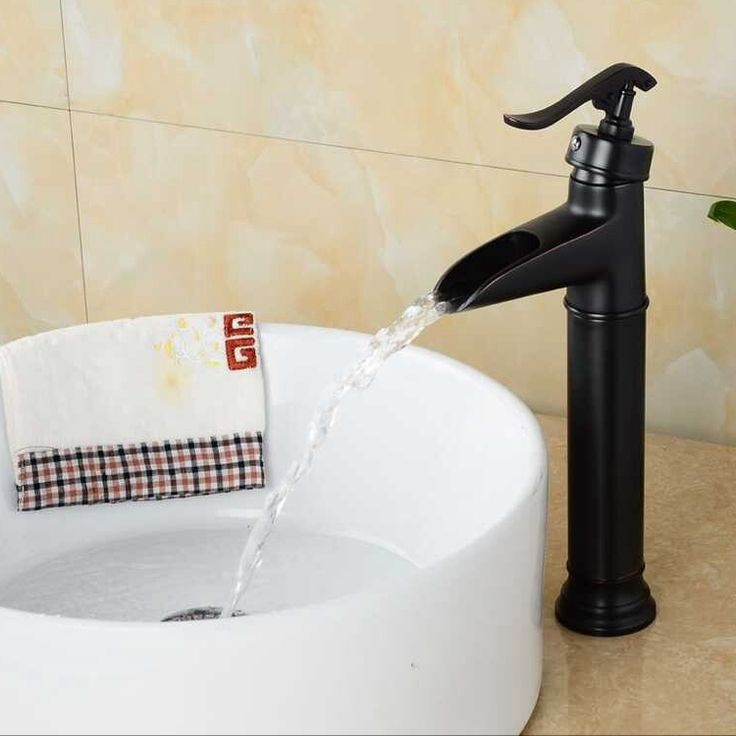 Free shipping bathroom black waterfall faucet deck mounted oil rubbed bronze faucets single lever water tap mixer