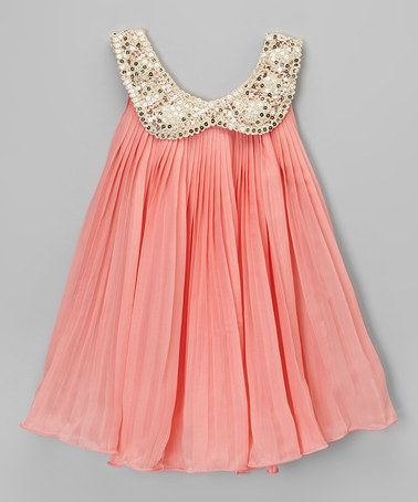 Look what I found on #zulily! Coral & Gold Sequin Collar Dress - Toddler & Girls by Chicaboo #zulilyfinds