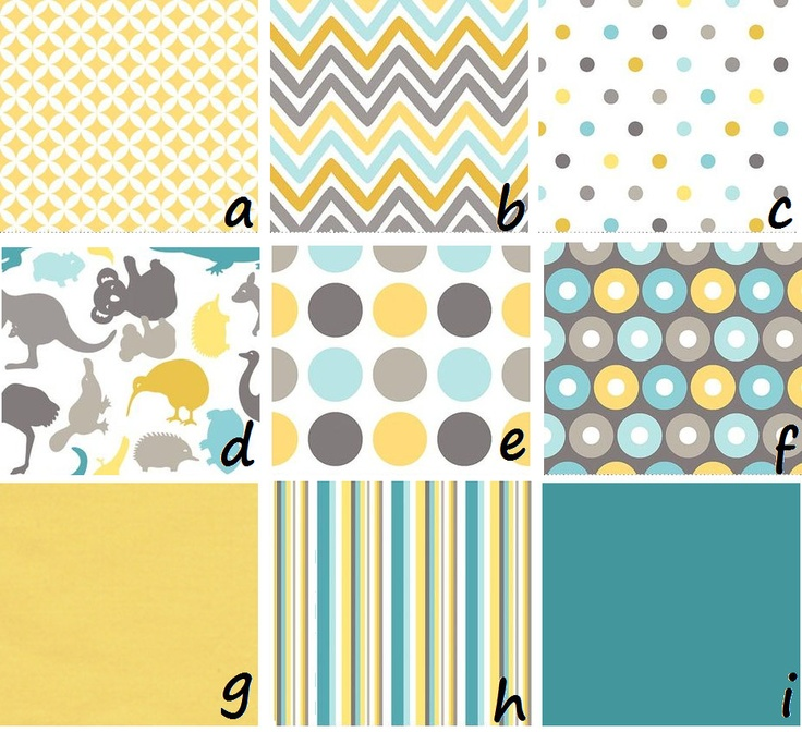 aqua, yellow, gray.. not bad colors either.. Need to paint both boys rooms now. Getting hard to make sure they are Different but still boyish