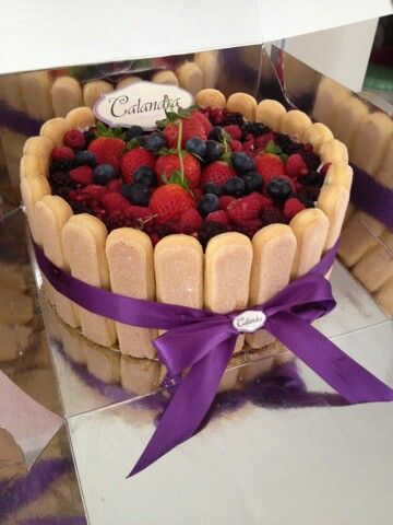 Calandra Charlotte Cake with red fruits. .♡♥♡