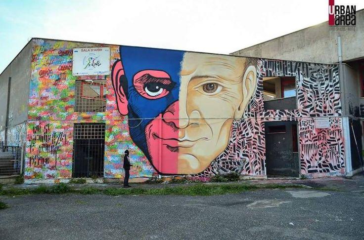 "Omino71 + Mr.Klevra - Italian Street Artists -""Pier Paolo Pasolini"" - Ostia (IT) - 05/2015 |\*/| #omino71 #mrklevra #streetart"