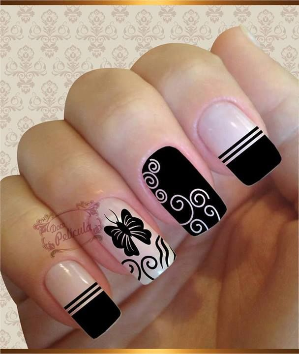 Creative Black and White designs on nails
