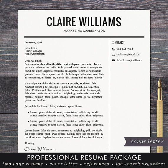 resume cv template free cover letter instant download mac or pc for word modern professional black the claire filler cover letter