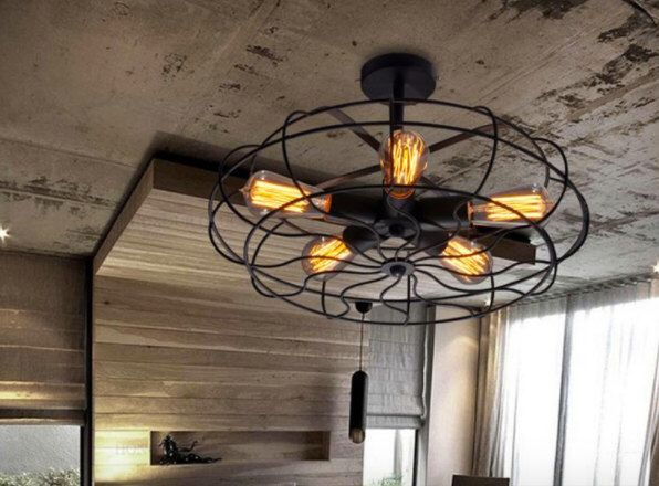 Industrial Retro Vintage 5 Light Bulb Ceiling or Wall Fan Chandelier Pendant Lamp rustic look. Antique hanging art deco french edison cage by RomantiquesUK on Etsy https://www.etsy.com/listing/497613065/industrial-retro-vintage-5-light-bulb