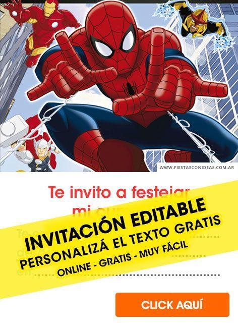 ccfec73f4 + 25  Tarjetas de cumpleaños de SPIDERMAN   HOMBRE ARAÑA gratis para editar  e