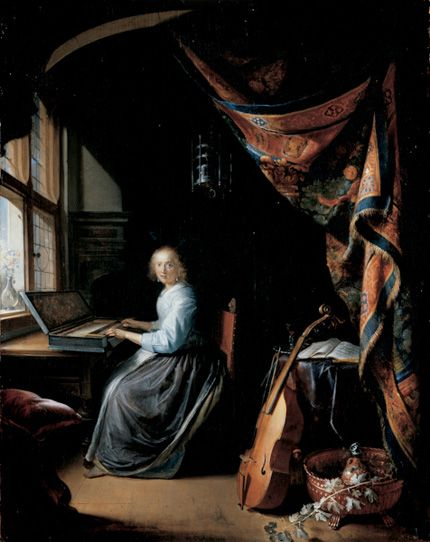 """According to Aristotle, the perfect end of education will be an activity that is engaged in for its own sake, complete and sufficient unto itself. Aristotle calls the activity for which education prepares man--happiness."" David V. Hicks, Norms and Nobility. Image: A Woman Playing a Clavichord, Gerrit Dou, c. 1665, oil on panel."