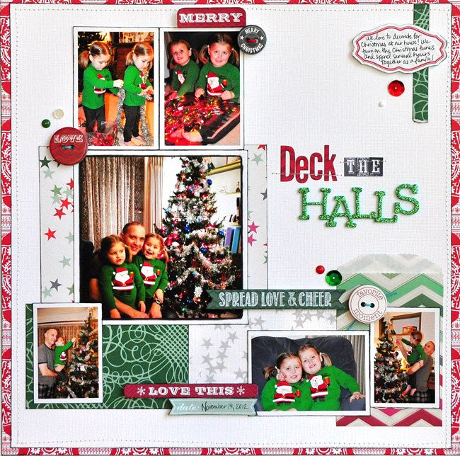 Layout: Deck the Halls by Designer Jill Cornell featuring It's Christmas by Allison Kreft for Webster's Pages