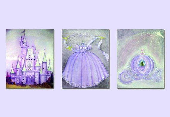 Princess Purple Nursery Decor, SET OF 3 Art Prints, Princess Cinderella Kids Wall Art, Girls room Decor, Princess Wall Art, Nursery Decor