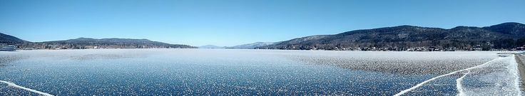 Panorama of a Frozen Lake George NY [OC] [3704x680]