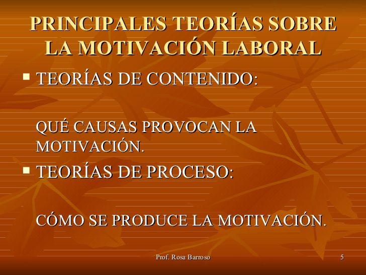 PRINCIPALES TEORÍAS SOBRE LA MOTIVACIÓN LABORAL TEORÍAS DE CONTENIDO: QUÉ CAUSAS PROVOCAN LA MOT...