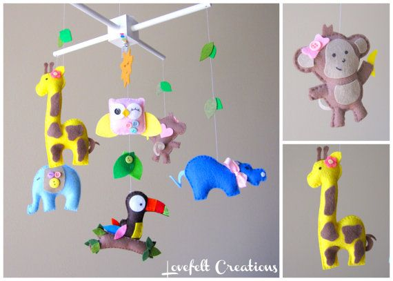 Baby Crib Mobile - Baby Mobile - Jungle Mobile  - Baby Girl Mobile - You can choose your colors too :) via Etsy