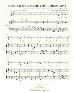 FREE LDS sheet music. Missionary Medley- We'll Bring the World His Truth/ Called to serve.