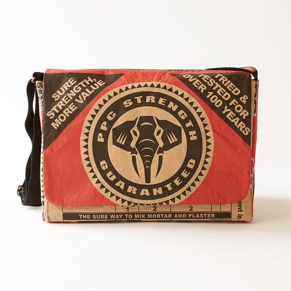 The Wren PPC Cement Laptop Bag puts a brand that is uniquely South African over your shoulder every time you walk out the door  •  Practical  •  Durable  •  The picture of authentic African style  •  Made from recycled PPC cement bags  •   Handmade in Cape Town, South Africa