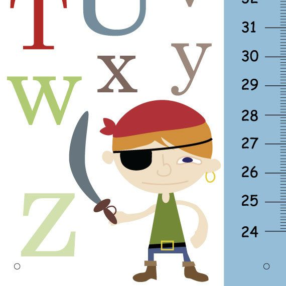 personalized growth charts children  ABC Pirate by KidOGrowthChart, $33.00