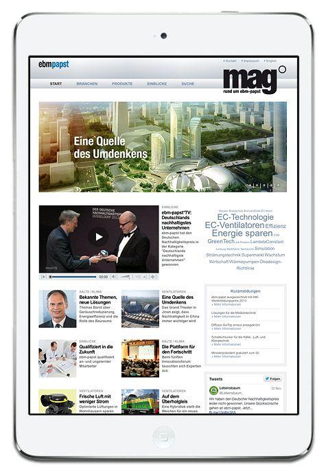 """Onlinemagazin """"mag online"""" von ebm-papst  Der digitale Bruder des Kundenmagazins mag° integriert nicht nur aktuelle Neuheiten und zusätzliche Themen und Bilder aus der Welt der Luft- und Antriebstechnik, sondern auch das hauseigene ebm-papst°TV."""