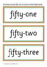 Number words fifty-one to one-hundred flash cards (SB9116) - SparkleBox