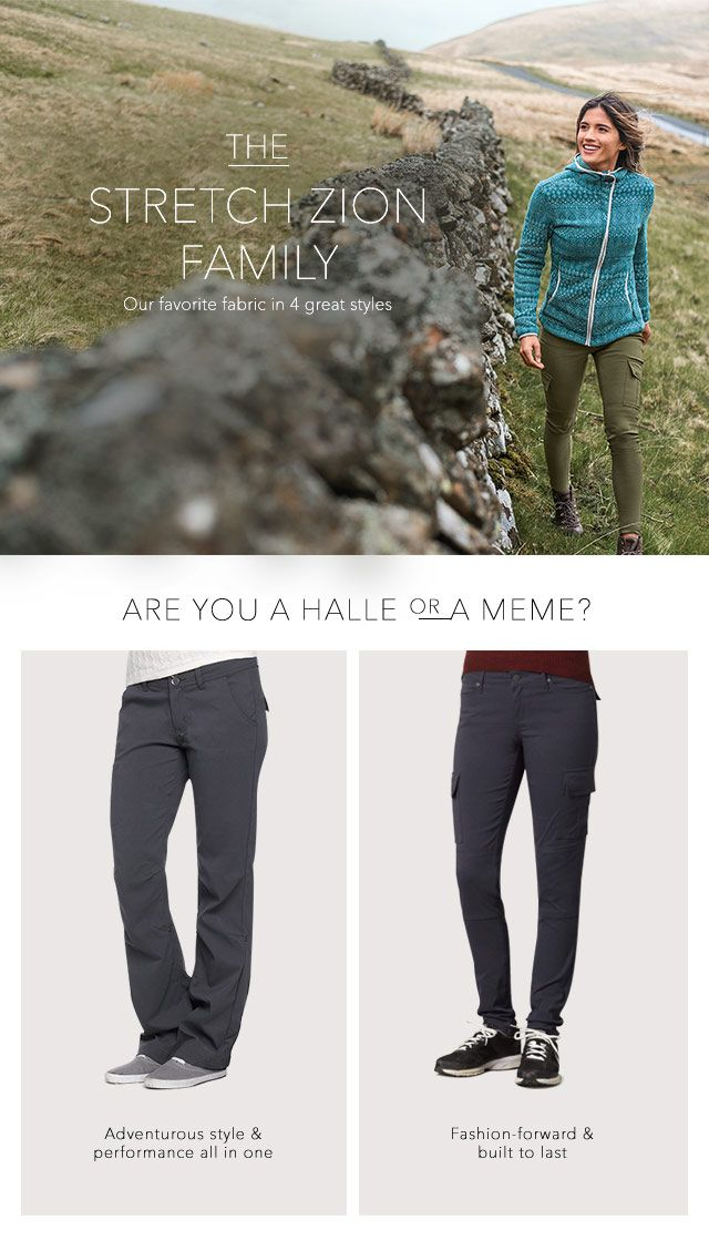 Join the Stretch Zion family! Head to prAna.com to check out the super versatile Halle and Meme Pant plus more sustainable style capsule wardrobe must-haves! #7DayStretch