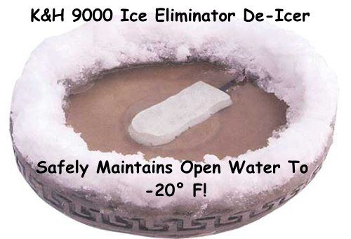 This bird bath heater (de-icer) only costs a couple dollars/month to operate & will keep your bird bath ice-free down to -20 F.