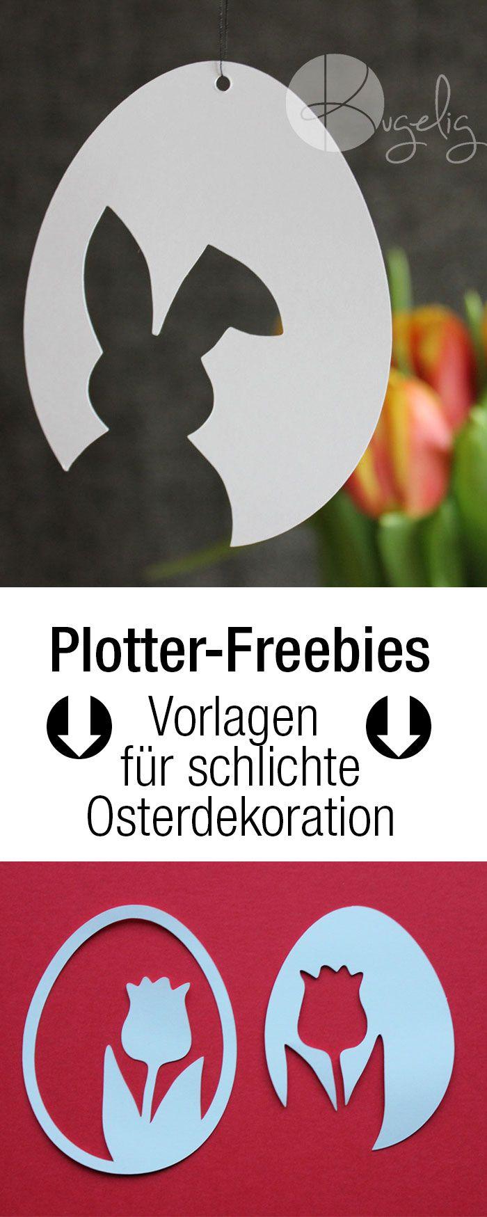 Vorlagen für schlichte Osterdekoration aus Papier, Plotterfreebies, DXF, SVG, PDF