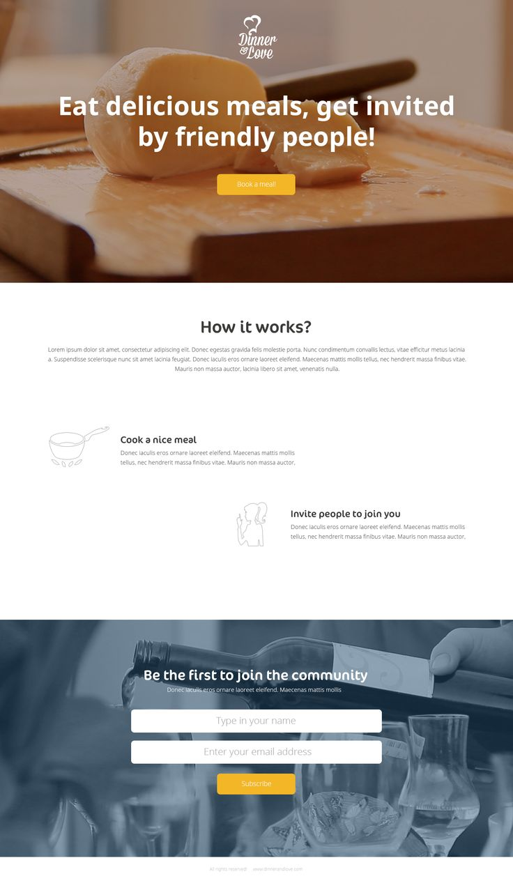 Landing page design with video background (well... it is, in reality :) Dinner and Love project. #dinnerandlove #webdesign