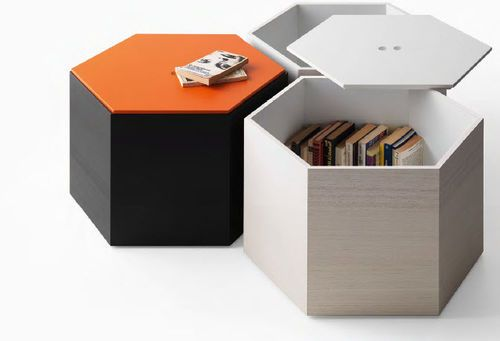 Pouf contemporain en bois avec rangement modulable for Pouf contemporain