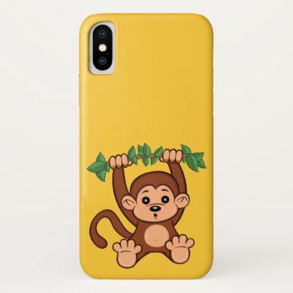 #Cute Cartoon Monkey iPhone X Case - #cute #gifts #cool #giftideas #custom