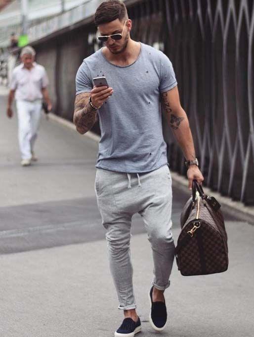 #été #jogging #tshirt #gris #bleu #basket