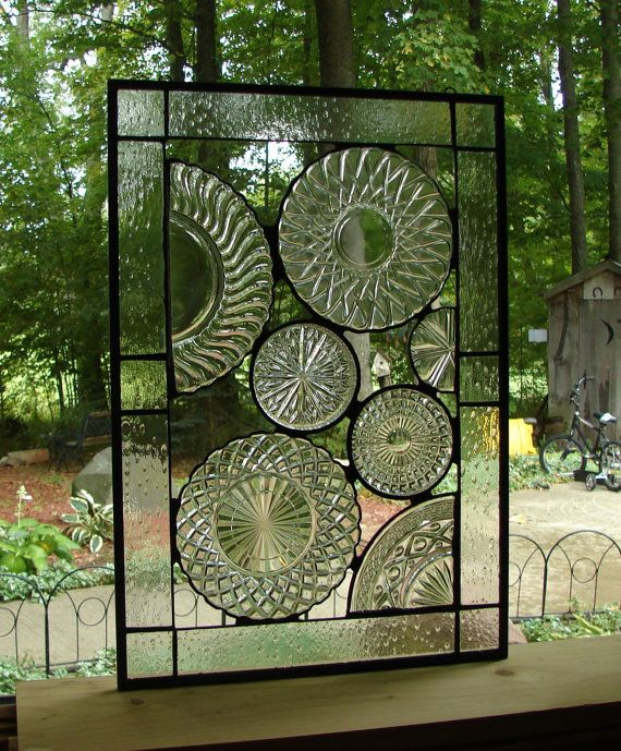 Vintage Crystal Plate panel stained glass by Barbarasstainedglass, $140.00