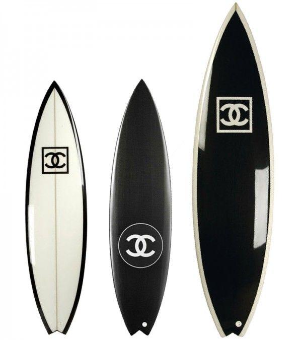 Chanel surfboards, black, white