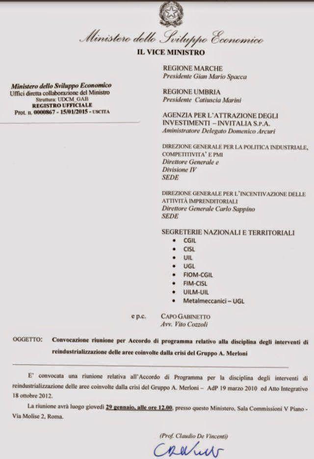 FIM CISL  INDESIT COMPANY MELANO: DAL MONDO DEL BIANCO: FINALMENTE C'E' LA CONVOCAZI...