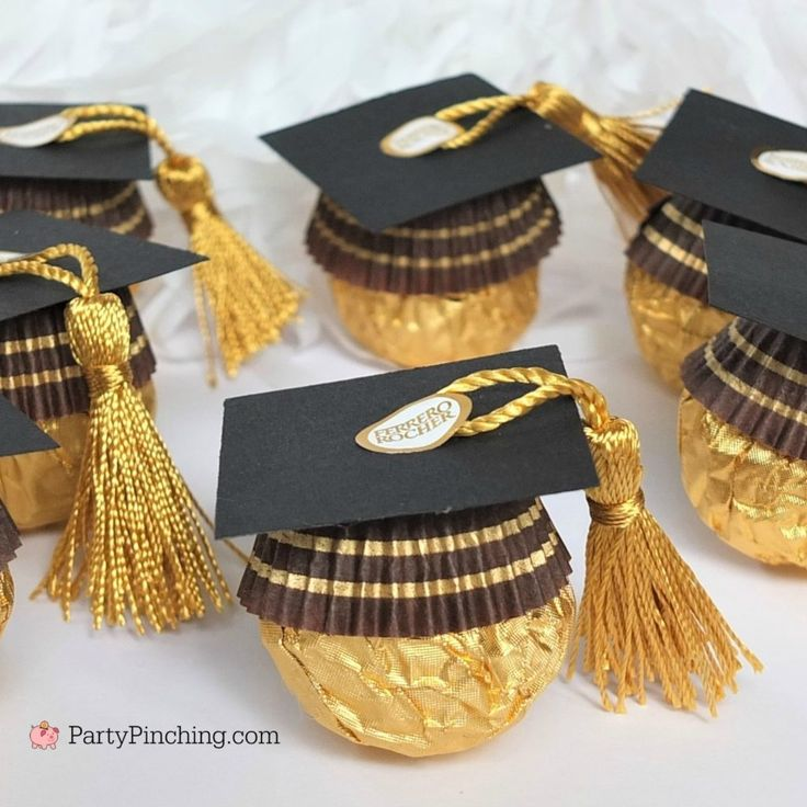 ferrero rocher candy graduation caps, cute candy graduation favors, diy grad favors, best graduation favors dessert treat, best graduation food, best ...