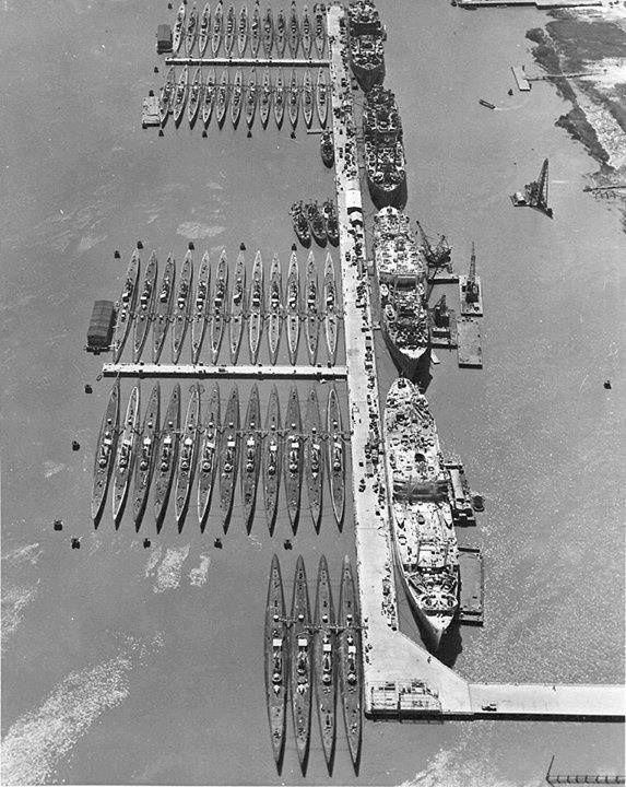 52 submarines and 4 submarine tenders of the US Navy Reserve Fleet Mare Island Naval Shipyard California circa 1946.