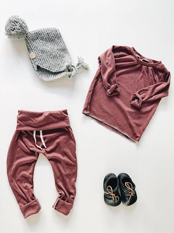 Baby Unisex shirt and pants set, Harem pants,going home outfit, Burgundy set, Modern clothes