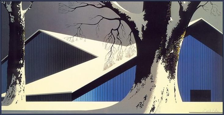Winter Quiet, 1980 by Eyvind Earle. Magic Realism. landscape