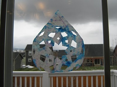 Cool looking raindrops for a weather unit. Also get to use our snowflake cutting skills in the spring.