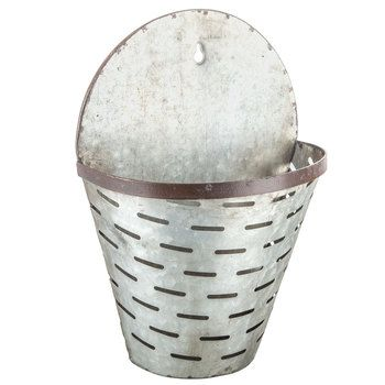 Galvanized Metal Olive Wall Planter Bucket from Hobby Lobby is just $19 but you can use a 40% off coupon (on their app or on their website) to get it for lots less!