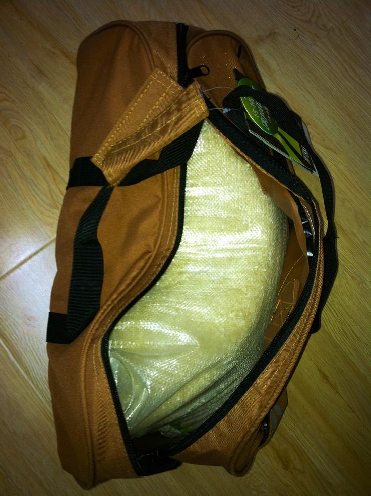 homemade sandbag!!!  bag of rice + cheap gym bag.... only $12!!! #bodyrock.tv