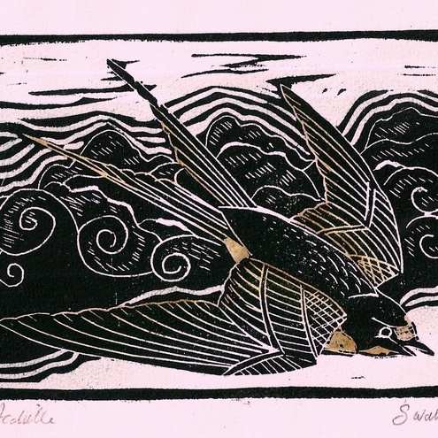 lino print, swallow, bird, relief print, printmaking, illustration