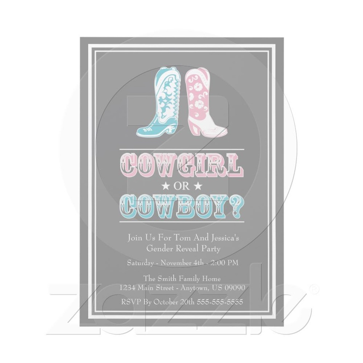 Cowboy Boots Gender Reveal Party Invitations from Zazzle.com