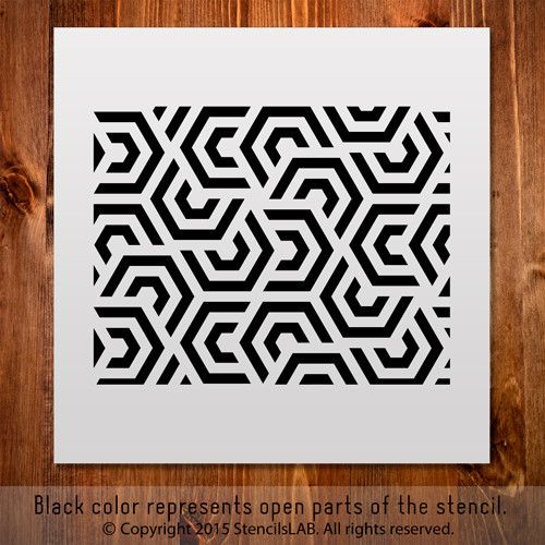 "Geometric Stencil For Diy Projects. Small Stencil. (11"" x 11"")"