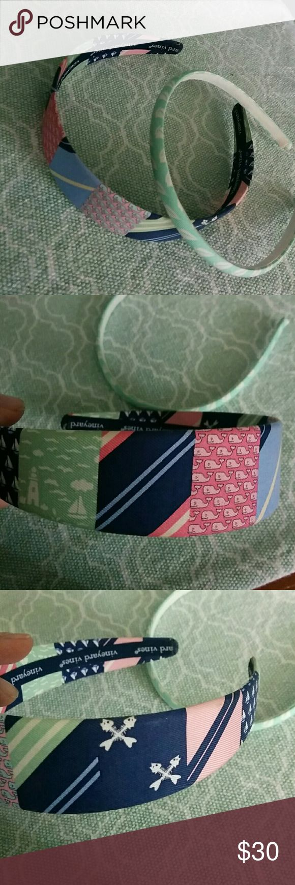 Two Vineyard Vines Headbands Navy Whale Mint Both gently worn only a few times  One is a skinny headband in mint blue with white sailboats $25  Patchwork thicker headband with vineyard vibe prints $40 Vineyard Vines Other